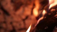 Fireplace wood flames ash close up macro slowmotion Stock Footage