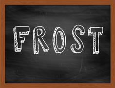 FROST  hand writing text on black chalkboard Stock Illustration