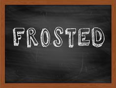 FROSTED  hand writing text on black chalkboard Stock Illustration