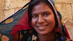 Closeup of Rajasthani tradicional woman, Jaisalmer, India Stock Footage