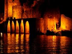 Ancient castle in night illumination Stock Footage