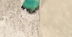 High-altitude overflight aerial of the Hanhowuz Reservoir, Turkmenistan Stock Footage