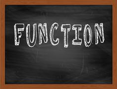FUNCTION  hand writing text on black chalkboard Stock Illustration