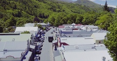 Aerial of arrowtown in the south island, New Zealand Stock Footage