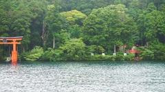 Red tori shrine gate in Ashi lake, popular tourist place of Hakone, Japan Stock Footage