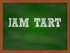 JAM TART handwritten text on green chalkboard Stock Illustration