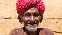 Portrait of Tradicional Rajasthani Man in Jaisalmer, India Stock Footage