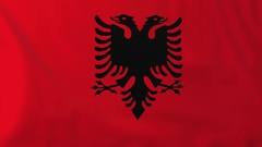 Flag of Albania waving in the wind, seemless loop animation Stock Footage