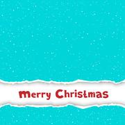 Christmas congratulation torn blue paper Stock Illustration