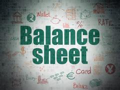 Banking concept: Balance Sheet on Digital Data Paper background Stock Illustration
