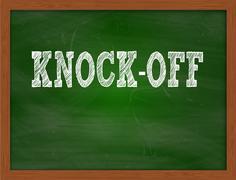 KNOCK-OFF handwritten text on green chalkboard Stock Illustration
