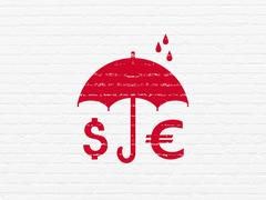 Privacy concept: Money And Umbrella on wall background Stock Illustration