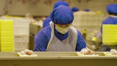 Poultry meat during production process Stock Footage