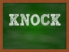 KNOCK handwritten text on green chalkboard Stock Illustration