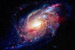 Spiral galaxy and nebula. Elements of this Image Furnished by NASA Stock Photos