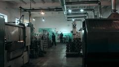 Various metal working machines in works shop Stock Footage