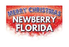 NEWBERRY FLORIDA   Merry Christmas greeting card Stock Illustration