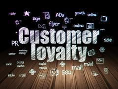 Advertising concept: Customer Loyalty in grunge dark room Stock Illustration