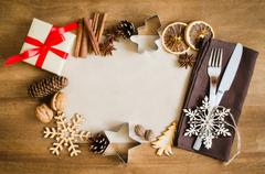 Culinary Background. Christmas Postcard with Empty Paper. Stock Photos