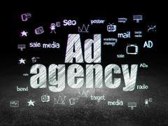Advertising concept: Ad Agency in grunge dark room Stock Illustration