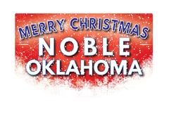NOBLE OKLAHOMA   Merry Christmas greeting card Stock Illustration