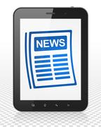 News concept: Tablet Pc Computer with Newspaper on display Stock Illustration