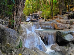 Beautiful waterfall landscape. Green jungle forest in Thailand tropical paradise Stock Footage