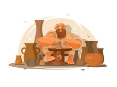 Potter bearded man Stock Illustration