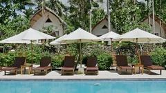 Beautiful Pool Palm Resort Nusa Penida Indonesia Vacation Travel 4k Stock Footage