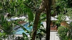Nusa Penida Palm Resort Pool Island Indonesia 4k Stock Footage