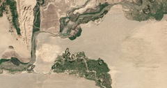 High-altitude overflight aerial - rocky desert Tajikistan / Afghanistan border Stock Footage