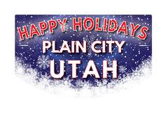 PLAIN CITY UTAH   Happy Holidays greeting card Stock Illustration