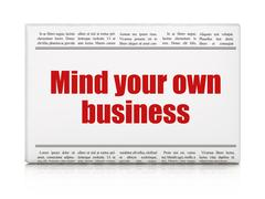 Business concept: newspaper headline Mind Your own Business Piirros