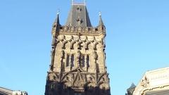 PRAGUE, CZECH REPUBLIC - DECEMBER 3, 2016. 4K steadicam shot of famous gothic Stock Footage