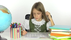 4K School Girl Learning, Student Child Writing, Office View and Reading Kid  Stock Footage