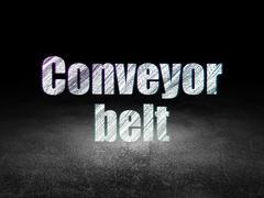 Manufacuring concept: Conveyor Belt in grunge dark room Stock Illustration