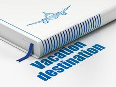 Vacation concept: book Aircraft, Vacation Destination on white background Stock Illustration