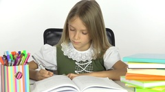 4K School Girl Reading, Student Child Writing, Office View and Learning Kid  Stock Footage