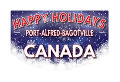 PORT ALFRED BAGOTVILLE CANADA   Happy Holidays greeting card Stock Illustration
