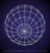 Abstract geometry shape: Multicolor sketched Sphere. Hand drawn 3D polygonal Stock Illustration