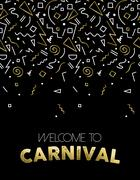 Welcome to Carnival gold party template design Stock Illustration