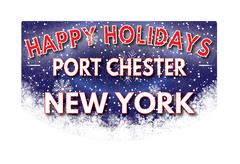 PORT CHESTER NEW YORK   Happy Holidays greeting card Stock Illustration
