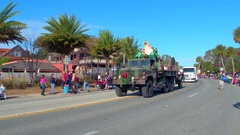 St Augustine Parade Alligator farm military truck Stock Footage