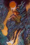 Magical piper playing his tune in wing of giant bird, illustration detail Stock Illustration