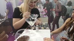 People attend Vapexpo Moscow 2016 exhibition Stock Footage