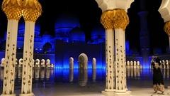 Abu Dhabi mosque at night. Long shot. Stock Footage