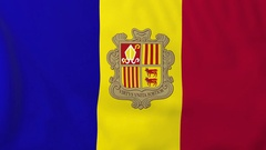 Flag of Andorra waving in the wind, seemless loop animation Stock Footage