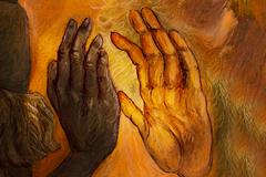 Two hands from two different worlds comming together in love promise, painting Stock Illustration