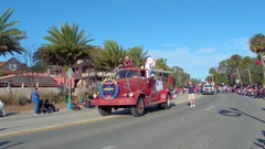 Old fire truck in the St Augustine winter Parade Stock Footage