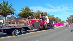St Augustine Parade Royal Family float Stock Footage